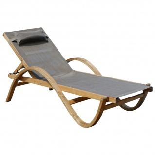 Sonnenliege PARAISO-BRAUN aus Holz Lärche mit Kopfpolster