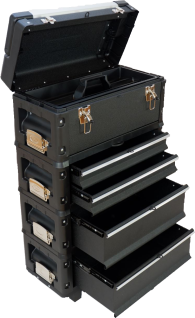 Metall Werkzeugtrolley XXL Type B2-B BLACK EDITION mit Schubladenverriegelung und Schloss