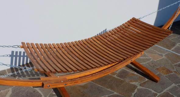 400cm XXL Luxus Hängemattengestell CARIBE aus Holz Lärche mit Holzhängematte mit Holzstreben und 4 Aufnahmen inkl. Auflage - Vorschau 3