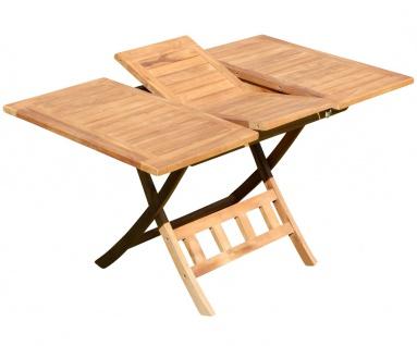 TEAK Ausziehtisch 100-140 x 80cm klappbar Holztisch Klapptisch Gartentisch Tisch JAV-AVES-AUSZIEH-100/140 Holz von AS-S
