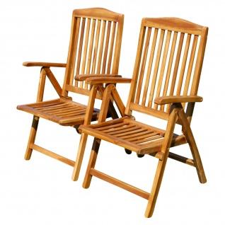 Doppelpack 7-fach verstellbarer Gartenstuhl Hochlehner klappbar verschiedene Modelle aus TEAK & Eukalyptus Holz von AS-S