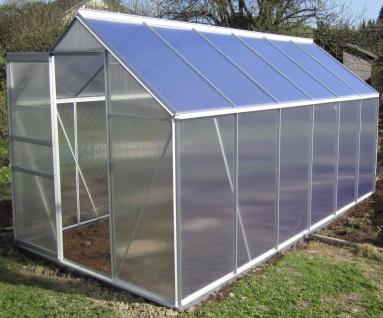 7, 05m² ALU Aluminium Gewächshaus Glashaus Tomatenhaus, 6mm Hohlkammerstegplatten - (Platten MADE IN AUSTRIA/EU) m. Stahlfundament 2 Fenster und 1 autom. Fensteröffner - Vorschau 3