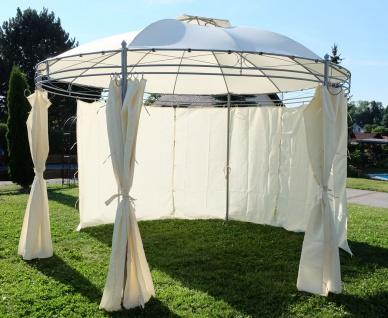 Eleganter Gartenpavillon Pavillon 3, 5 Meter Durchmesser rund mit Dach 100% wasserdicht UV30+ und 6 Vorhängen MARSEILLE von AS-S - Vorschau 4