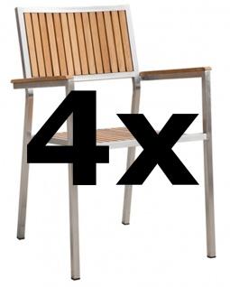 AS-S 4Stk Designer Gartenstuhl mit Armlehne Gartensessel Stapelstuhl Stapelsessel Sessel KUBA-TEAK Edelstahl Teak A-Grade stapelbar sehr robust Gastroqualität