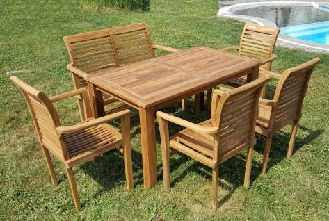 ECHT TEAK Gartenset Bigfoot Tisch 140x80 + 1 Bank 120cm + 4 Sessel ALPEN Holz