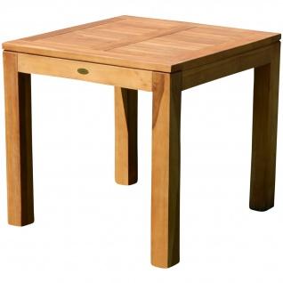 AS-S Wuchtiger echt TEAK Bigfuss Design Gartentisch 80x80 Holztisch Teaktisch Garten Tisch Holz JAV-BIGFUSS80