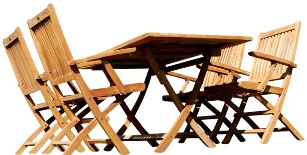 echt TEAK Gartenset Gartengarnitur Gartenmöbel Klapptisch 140x80 + 4 Klappsessel mit Armlehne AVES Holz