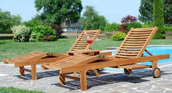 2x Hochwertige TEAK Sonnenliege Gartenliege Strandliege Liegestuhl Holzliege Holz sehr robust Modell: COZY+ 1x Beistelltisch 45x45cm von AS-S - Vorschau 3
