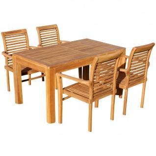 TEAK SET: Gartengarnitur Bigfuss Tisch 140x80 + 4 Alpen Sessel Serie JAV von AS-S