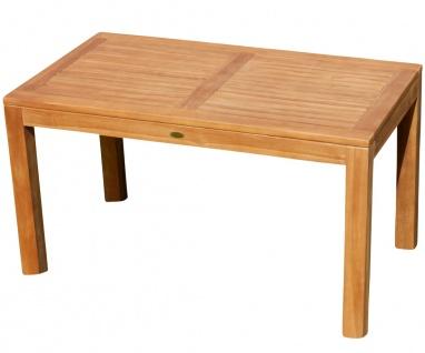 AS-S Wuchtiger echt TEAK Bigfuss Design Gartentisch 140x80 Holztisch Teaktisch Garten Tisch Holz JAV-BIGFUSS mit 8x8cm dicken Füßen