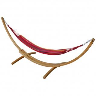 350cm Hängemattengestell NATUR-MONA aus Holz Lärche natur mit bunter Tuch Hängematte