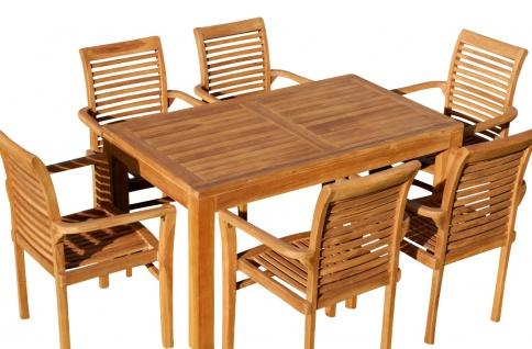 TEAK SET: Gartengarnitur Bigfuss Tisch 140x80 + 6 Alpen Sessel Serie JAV von AS-S