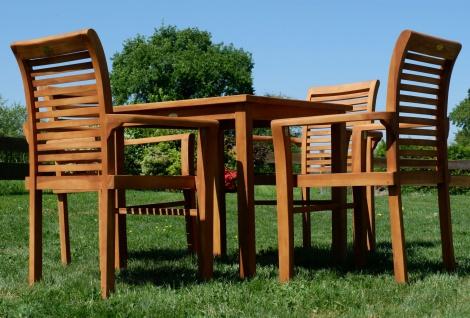AS-S Teak Set: Gartengarnitur Gartentisch 80x80 cm + 4x Sessel Holz Serie JAV-ALPEN - Vorschau 5