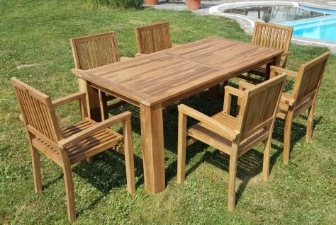 ECHT TEAK Gartenset Bigfoot Tisch 180x90 + 6 Sessel MIAMI Holz