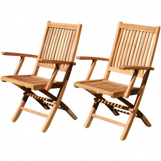 2x ECHT TEAK Klappsessel Gartensessel Gartenstuhl Sessel Holzsessel mit Armlehne Gartenmöbel Holz JAV-AVES