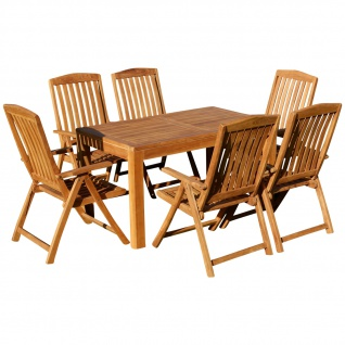 AS-S Teak Set Gartengarnitur Bigfuss Tisch 140x80 cm und 6 Tobago Sessel Serie JAV