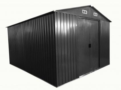 """Gartenhaus Geräteschuppen 8m² 2, 57x3, 12m 2, 5x3m aus verzinktem Stahlblech Metall grau """" mit großer Türe"""" von AS-S"""