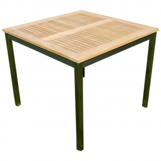 Edelstahl Teak Gartentisch 90x90 cm Holztisch Esstisch Tisch massive Ausführung A-Grade Teakholz KUBA