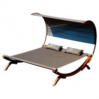 XXL Sonnenliege Doppelliege SAONA-BRAUN/BRONZE Holz Lärche extrabreite Liegefläche für 2 Personen