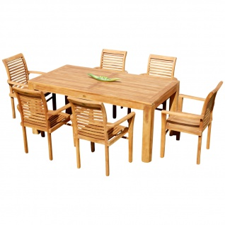 AS-S Teak Set: Gartengarnitur Bigfuss Tisch 180x90 cm + 6 Sessel ALPEN Holz Serie JAV