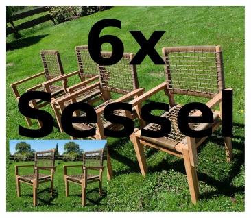 6Stück ECHT TEAK Design Rattan Sessel Gartensessel Gartenstuhl Sessel Holzsessel Gartenmöbel Holz Modell: RIO-A von AS-S