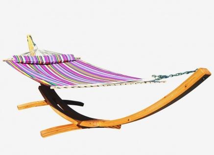 AS-S 410cm XXL Hängemattengestell NATUR-FILLED EDITION PINK Hängematte mit Gestell aus Holz Lärche mit Stabhängematte (GEPOLSTERT) inkl. Kopfkissen