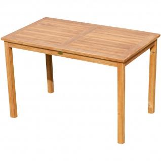 AS-S Echt Teak Holztisch 120x70cm Gartenmöbel Gartentisch Garten Tisch Holz sehr robust ALPEN