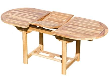 echt TEAK Ausziehtisch 140-180 x 80 cm Holztisch Gartentisch Tisch ausziehbar Holz Mod. SUMMER