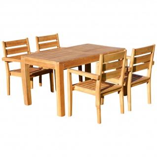 TEAK SET: Gartengarnitur Bigfuss Tisch 140x80 + 4 Kingston Sessel Serie JAV