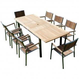 AS-S Gartengarnitur Edelstahl Teak Set: Ausziehtisch 160/220 x 90 cm + 8 Teak Sessel A-Grade Teak Holz Serie KUBA Gastroqualität