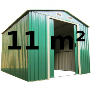 AS-S Geräteschuppen Gartenhaus 11m² 3x3, 65m aus verzinktem Stahlblech Metall grün