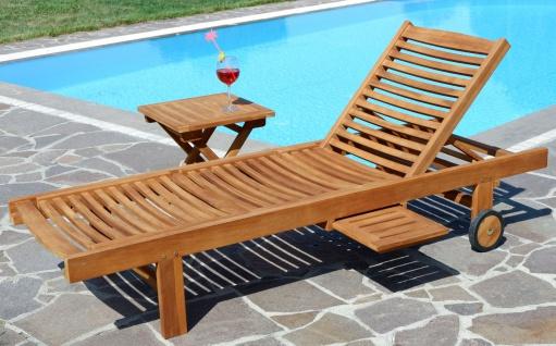 Hochwertige TEAK Sonnenliege Gartenliege Strandliege Liegestuhl Holzliege Holz sehr robust Modell: COZY+ Beistelltisch 45x45cm von AS-S - Vorschau 4