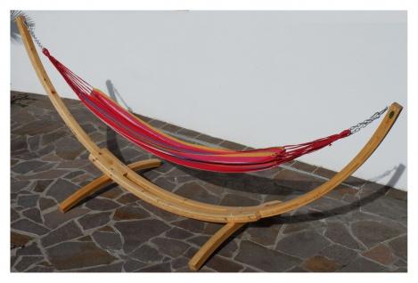 350cm Hängemattengestell NATUR-MONA aus Holz Lärche natur mit bunter Tuch Hängematte - Vorschau 2