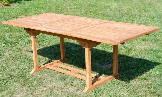 TEAK XXL Ausziehtisch 150/210x90 cm Holztisch Gartentisch Garten Tisch 150 / 210 Länge 90cm Breite Holz Modell: JAV-SABA von AS-S - Vorschau 4