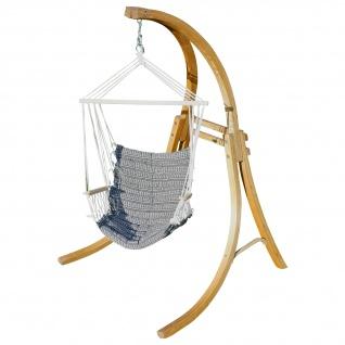 AS-S DESIGN Hängesessel Hängestuhl mit Gestell aus Holz Lärche CAT-MALY-SPEZIAL Holzgestell Hängesesselgestell komplett mit Stoffsessel angenehmer Sitzkomfort im 6cm dicken Kissen