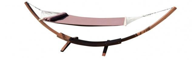 410cm XXL Luxus Hängemattengestell FILLED EDITION COFFEE aus Holz Lärche mit Stab Hängematte (GEPOLSTERT)