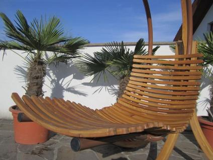 AS-S DESIGN Hängeliege Schwebeliege Schaukelliege NAVASSA-SEAT-GRÜN aus Holz Lärche / Metall mit Auflage (OHNE Gestell) - Vorschau 3