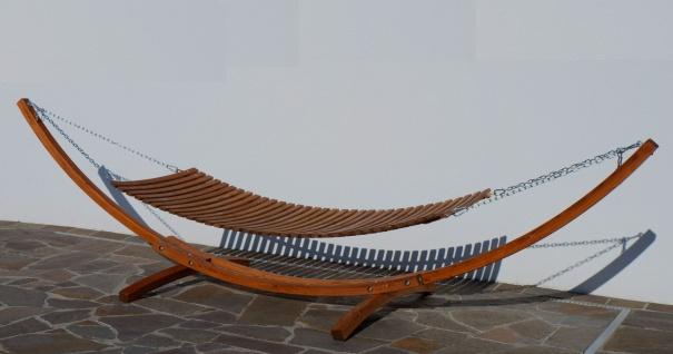 400cm XXL Luxus Hängemattengestell CARIBE aus Holz Lärche mit Holzhängematte mit Holzstreben und 4 Aufnahmen inkl. Auflage - Vorschau 5