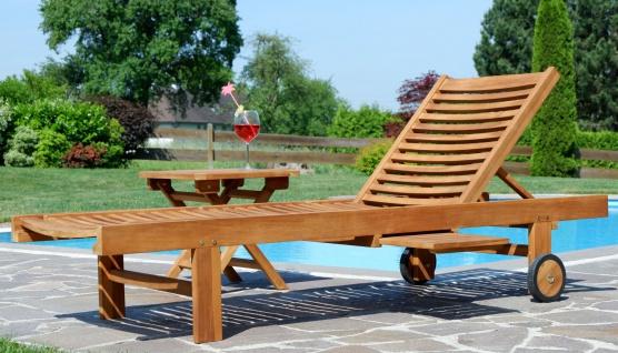 Hochwertige TEAK Sonnenliege Gartenliege Strandliege Liegestuhl Holzliege Holz sehr robust Modell: COZY+ Beistelltisch 45x45cm von AS-S - Vorschau 3