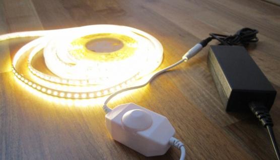 SET 2660 Lumen 5m LED Streifen 600 LED warmweiß mit Dimmer inkl. Netzteil 24V Pro-Serie TÜV/GS geprüft