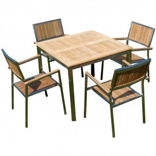 Gartengarnitur Edelstahl Teak Set: Tisch 90x90 cm + 4 Teak Sessel Serie KUBA