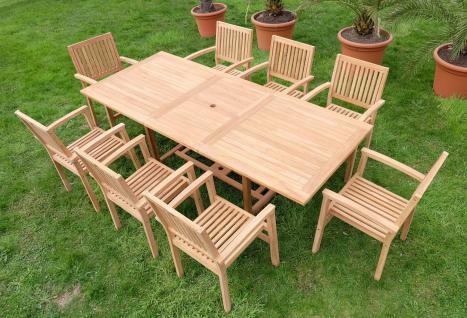 XXL ECHT TEAK Gartengarnitur Gartenset Gartenmöbel Ausziehtisch Tobago 180-240cm + 8 Stapelsessel Miami Holz