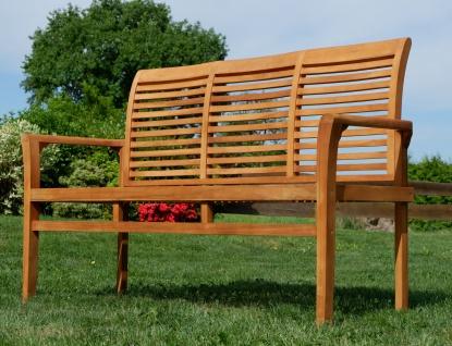 TEAK Design Gartenbank 150cm Parkbank Sitzbank 3-Sitzer Bank Gartenmöbel Holz sehr robust Modell: JAV-ALPEN von AS-S - Vorschau 4
