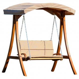 AS-S Design Hollywoodschaukel Gartenschaukel Schaukelbank RIO aus Holz Lärche mit Dach und Polsterauflage braun