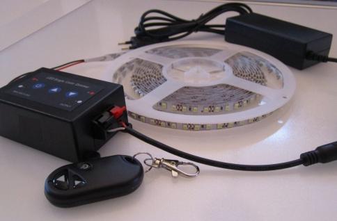 SET 2760 Lumen 5m Led Streifen 600 LED neutralweiß mit Dimmer mit Fernbedienung inkl. Netzteil 24V (Pro-Serie) TÜV/GS geprüft