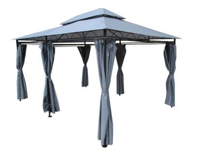 Eleganter Garten - Pavillon 3x4 Meter, Dach 100% WASSERDICHT UV30+, 12m², mit 6 Vorhängen, rechteckig Modell: ELBA 3x4 anthrazit
