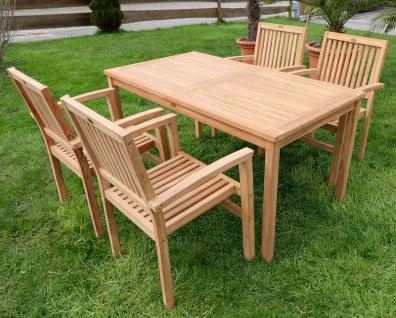 ECHT TEAK Gartengarnitur Gartenset Gartenmöbel Tisch 150x80cm + 4 Stapelsessel Miami Holz