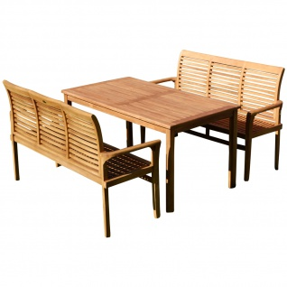 TEAK XL Set Gartentisch + 2 Bänke JAV-ALPEN von AS-S