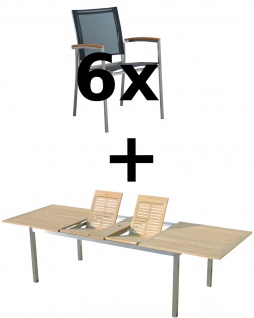 AS-S Gartengarnitur Edelstahl Batyline A-Grade Teak Holz Set: Ausziehtisch 200/240/280 x 100 cm + 6 Sessel Serie KUBA-SCHWARZ Gastroqualität