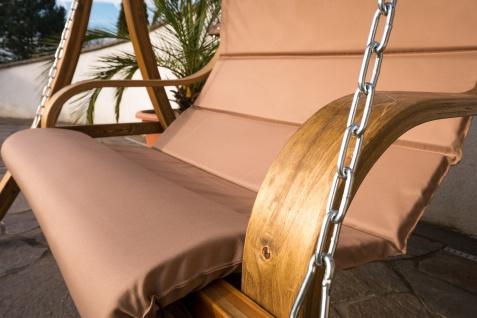 AS-S Design Sitzbank für Hollywoodschaukel aus Holz Lärche inkl. Dach MERU BRAUN ohne Gestell - Vorschau 2